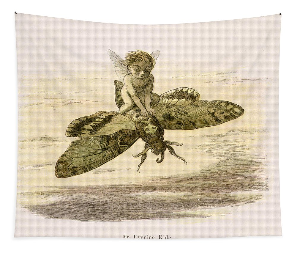 Elf Tapestry featuring the drawing An Evening Ride, Illustration From In by Richard Doyle