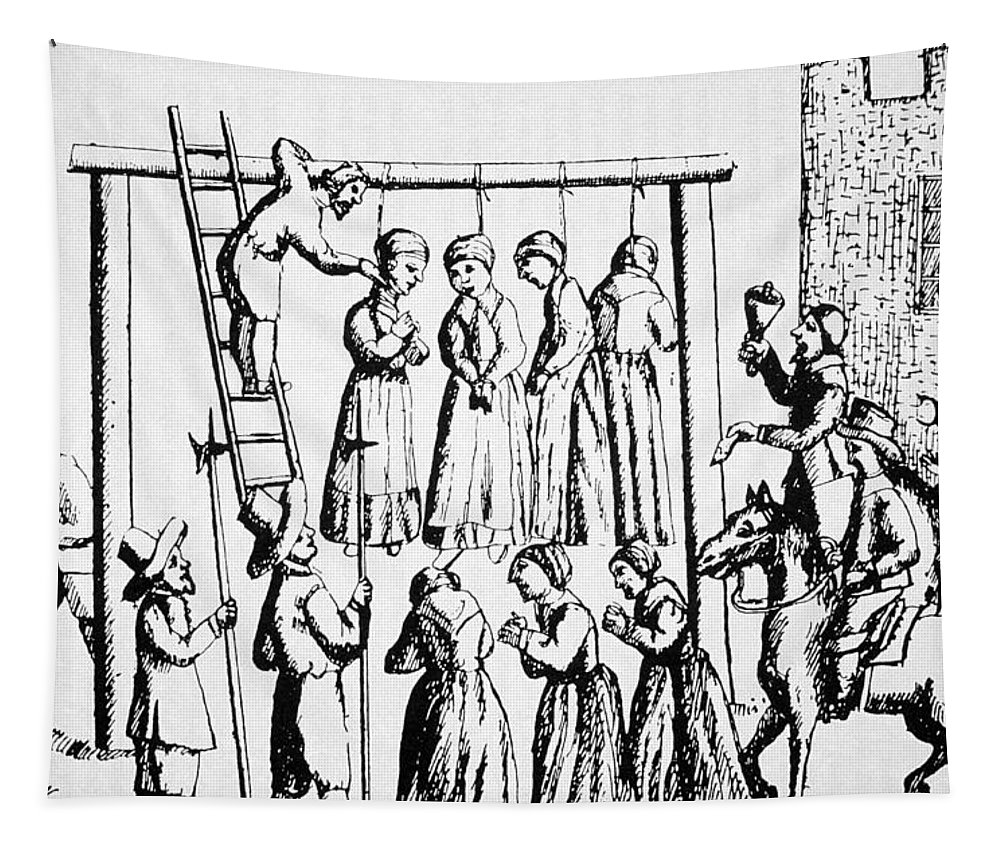 Salem Tapestry featuring the drawing An Execution Of Witches In England by English School