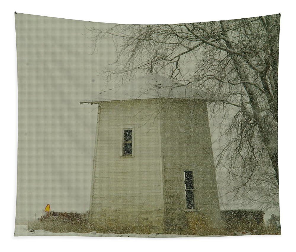 Old Barns Tapestry featuring the photograph An Old Bin In The Snow by Jeff Swan