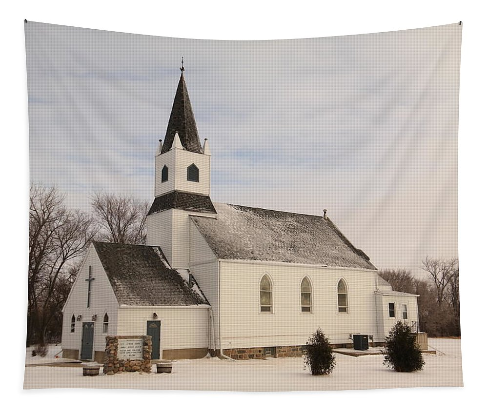 Church Tapestry featuring the photograph An Old Church In Palermo North Dakota by Jeff Swan