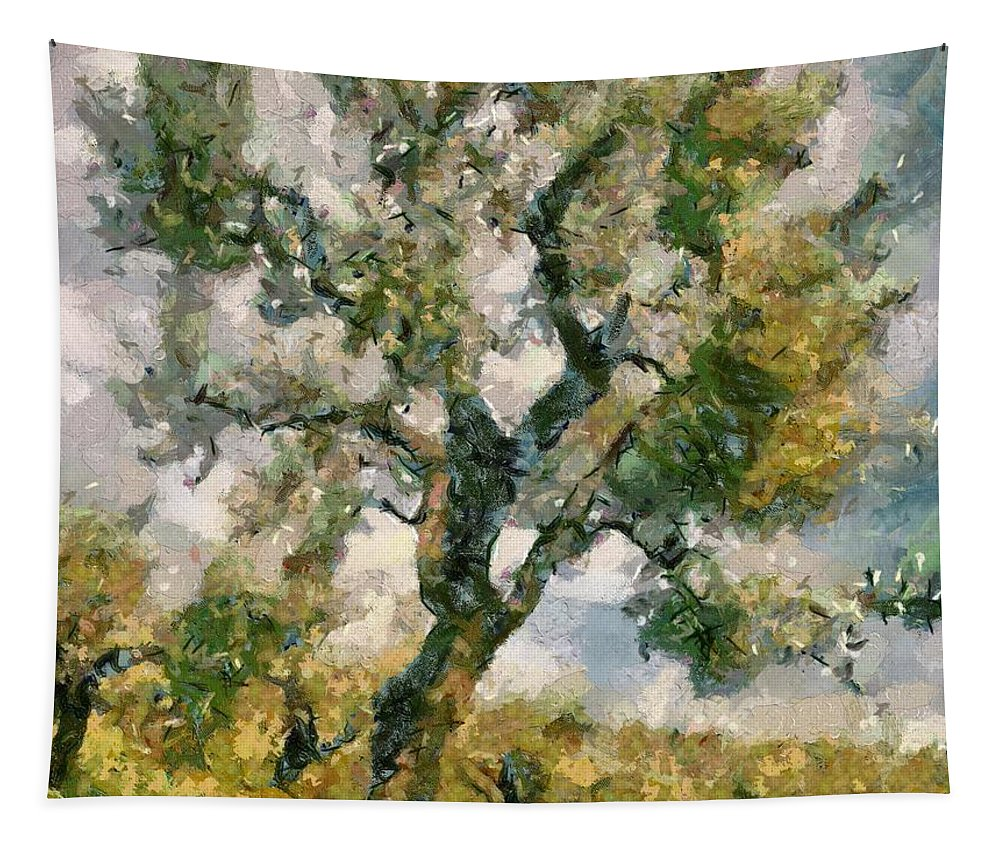 Olive Tapestry featuring the painting An Old Olive Grove by Dragica Micki Fortuna