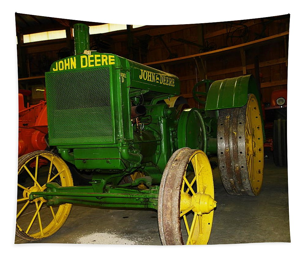 Tractor Tapestry featuring the photograph An Old Restored John Deere by Jeff Swan