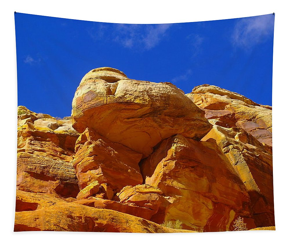 Utah Landscapes Tapestry featuring the photograph An Orange Boulder by Jeff Swan