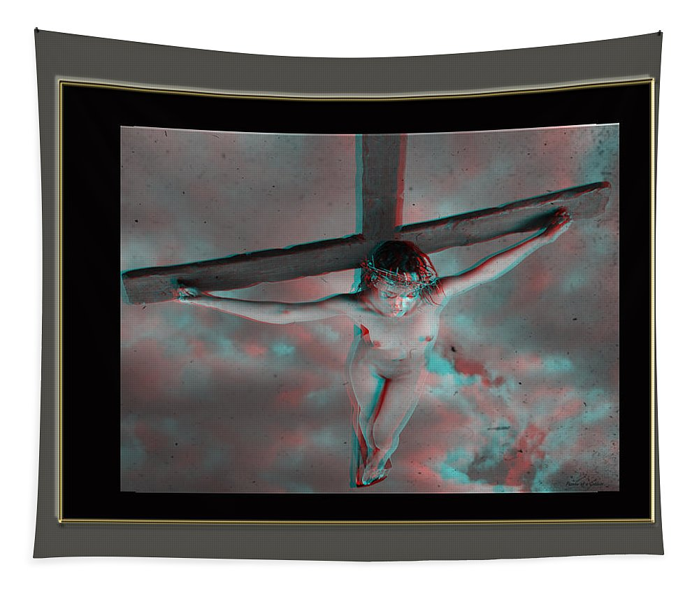 Anaglyph Tapestry featuring the photograph Anaglyph Black Female Jesus by Ramon Martinez