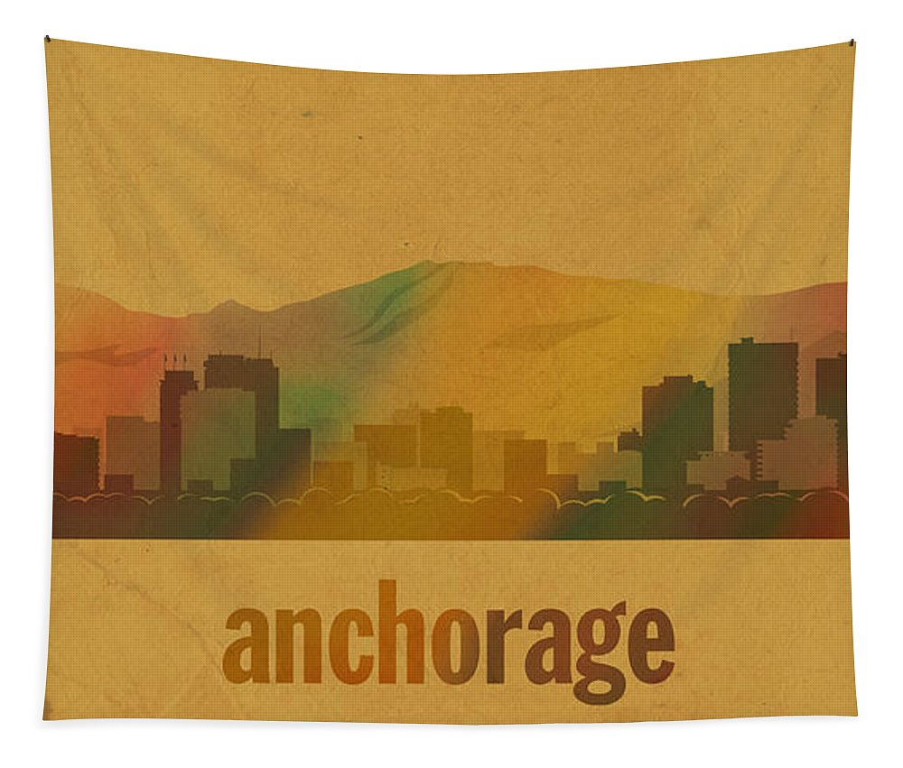 Anchorage Tapestry featuring the mixed media Anchorage Alaska City Skyline Watercolor On Parchment by Design Turnpike