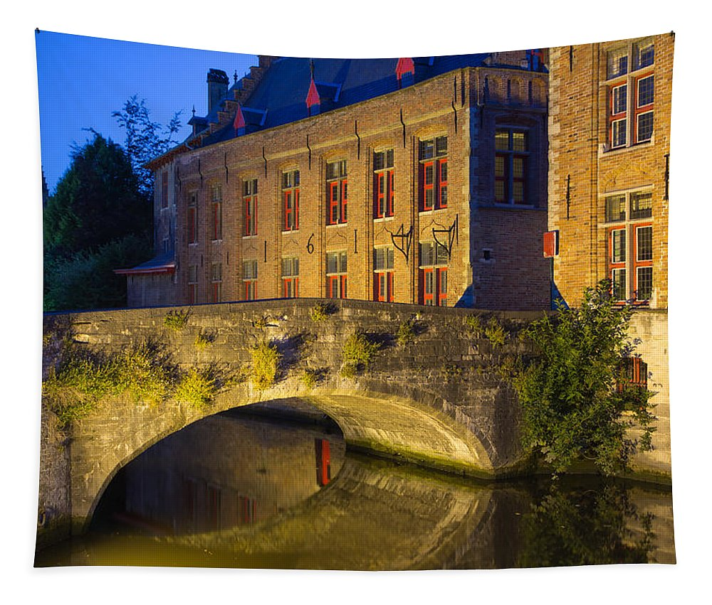 Canal Tapestry featuring the photograph Ancient Bridge In Bruges by Jaroslav Frank