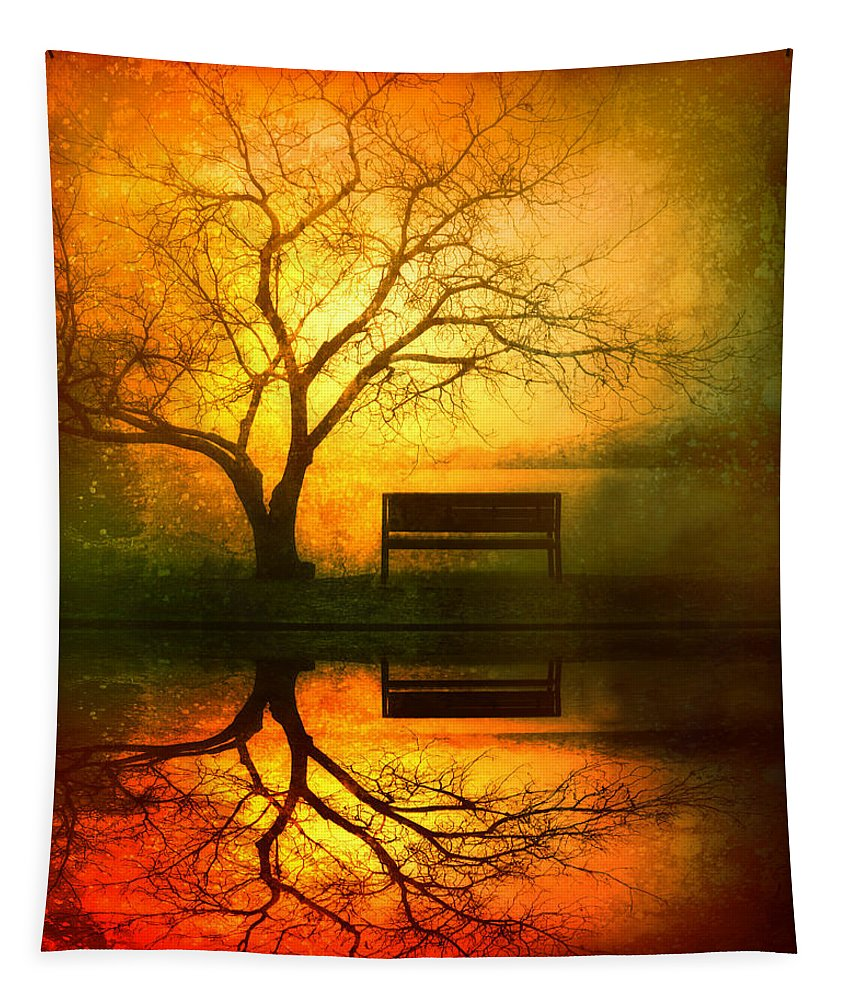 Bench Tapestry featuring the photograph And I Will Wait For You Until The Sun Goes Down by Tara Turner