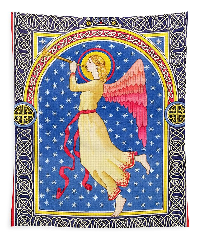 Angel Tapestry featuring the painting Angel Blowing Trumper by Lavinia Hamer