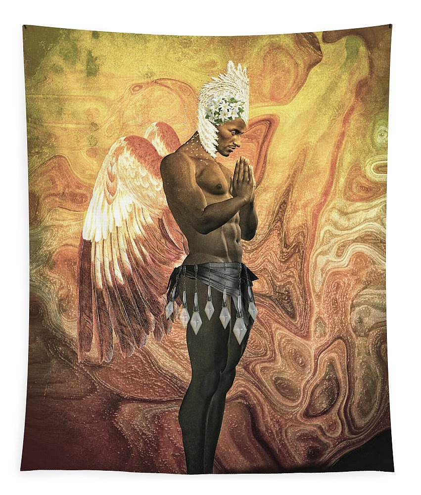 Cabaret Angel Tapestry featuring the digital art Angel Cabaret by Quim Abella