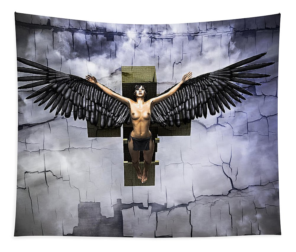 Angel Tapestry featuring the digital art Angel Cube by Ramon Martinez