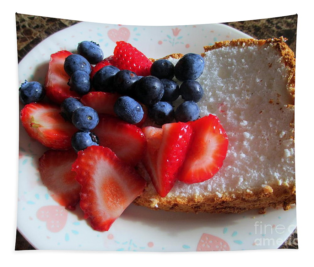 Angle Food Tapestry featuring the photograph Angel Food And The Berries by Kay Novy