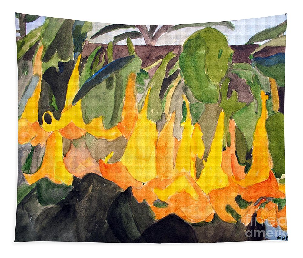 Angel Trumpet Tapestry featuring the painting Angel Trumpets by Sandy McIntire