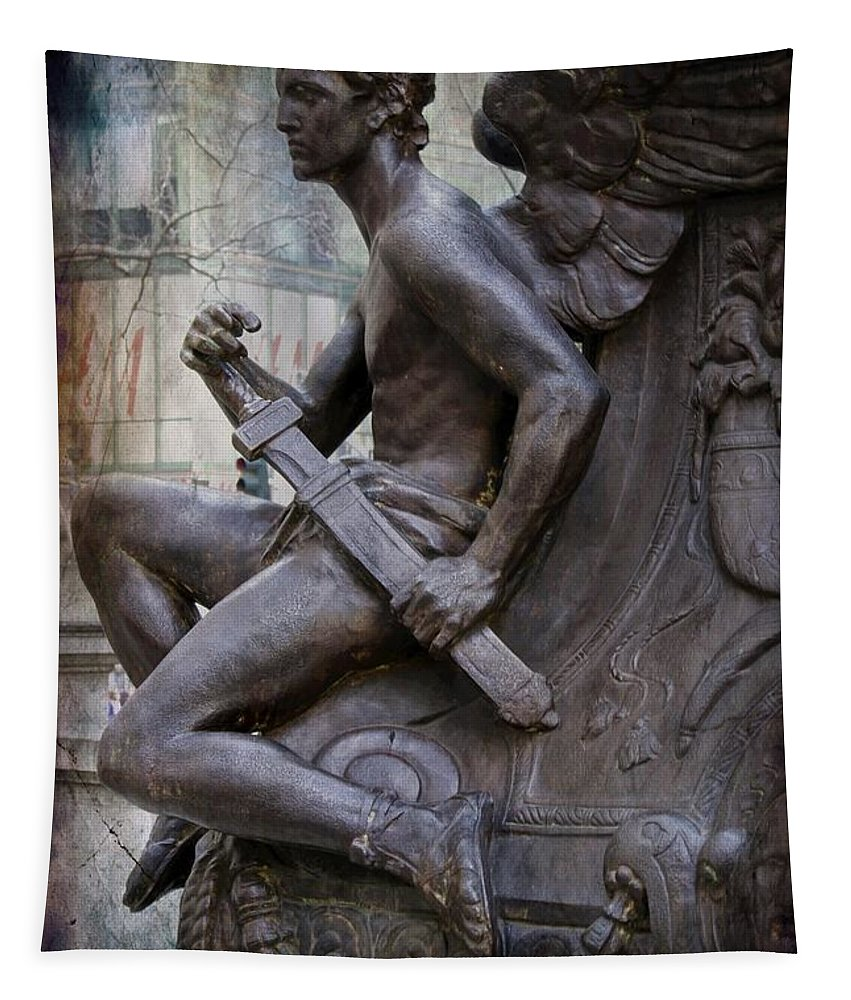 Angel Tapestry featuring the photograph Angel With His Sword by Alice Gipson