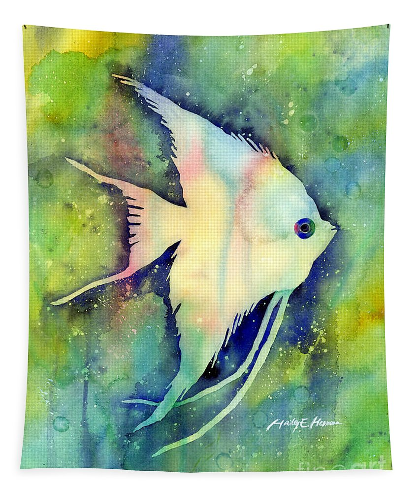 Fish Tapestry featuring the painting Angelfish I by Hailey E Herrera