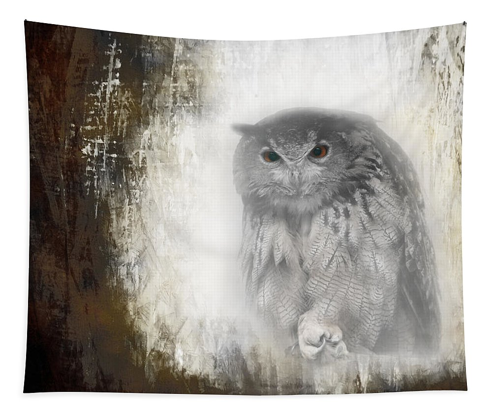 Great Horned Owl Tapestry featuring the photograph Angry Owl's Talons by Jeff Folger