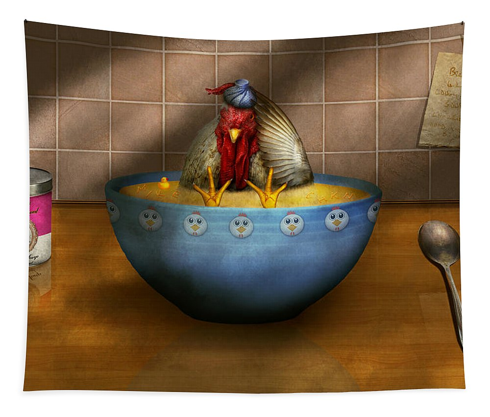 Self Tapestry featuring the photograph Animal - Chicken - Chicken Soup by Mike Savad