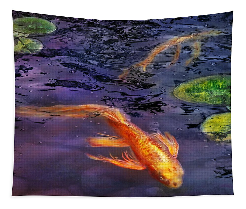 Savad Tapestry featuring the photograph Animal - Fish - There's Something About Koi by Mike Savad