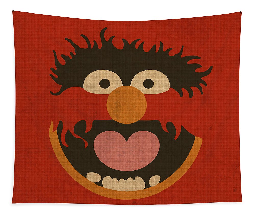 Animal Tapestry featuring the mixed media Animal Muppet Vintage Minimalistic Illustration On Worn Distressed Canvas Series No 008 by Design Turnpike