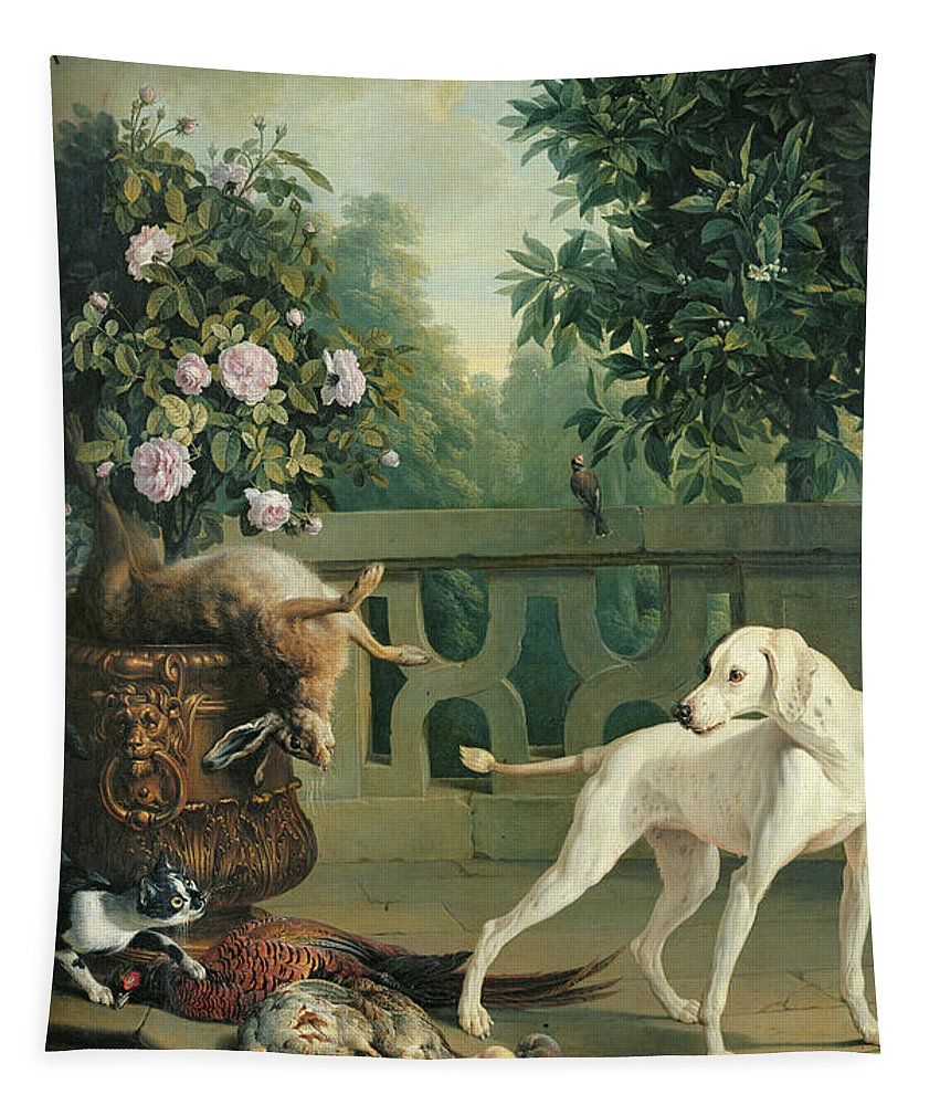 C17th Tapestry featuring the photograph Animals, Flowers And Fruits Oil On Canvas by Alexandre-Francois Desportes