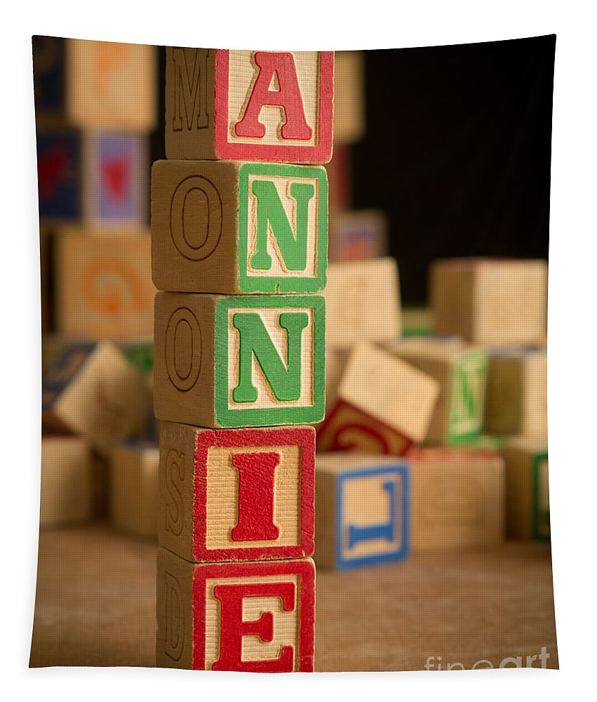 Alphabet Tapestry featuring the photograph Annie - Alphabet Blocks by Edward Fielding