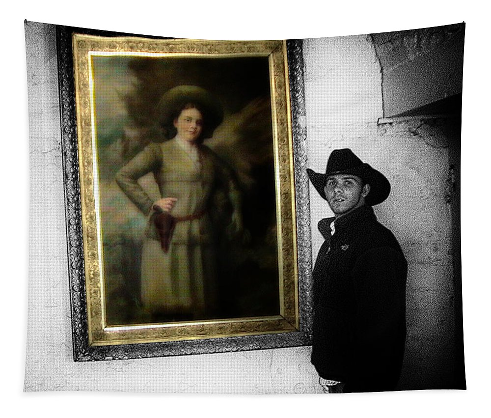 Woman Tapestry featuring the photograph Annie Oakley With A Cowboy by Thomas Woolworth