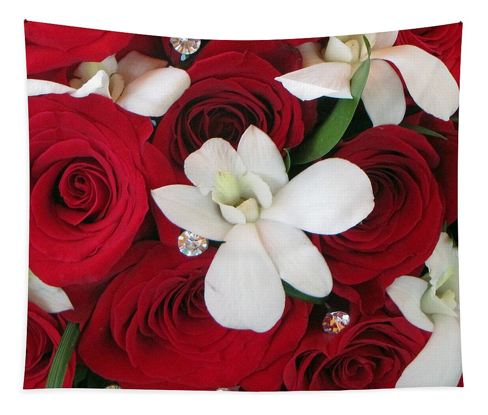Red Roses Tapestry featuring the photograph Anniversary by Tikvah's Hope