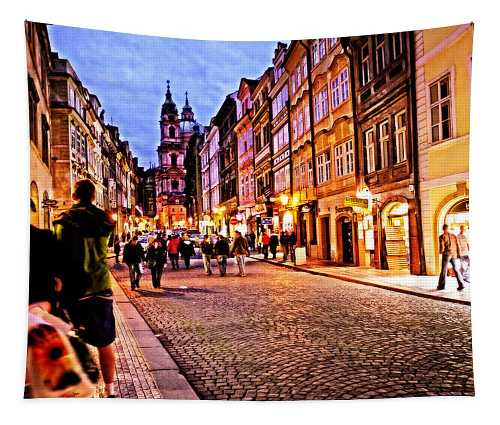 Prague Tapestry featuring the photograph Another Prague Night - Czech Republic by Madeline Ellis