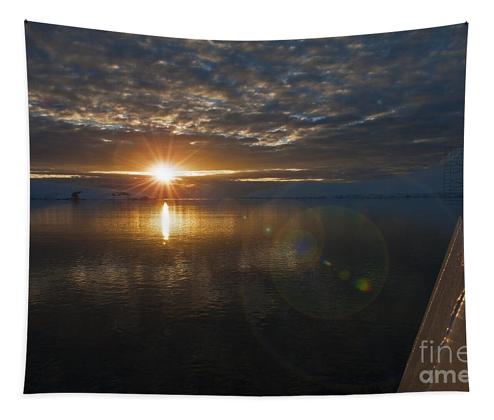 Festblues Tapestry featuring the photograph Antarctic Twilight... by Nina Stavlund