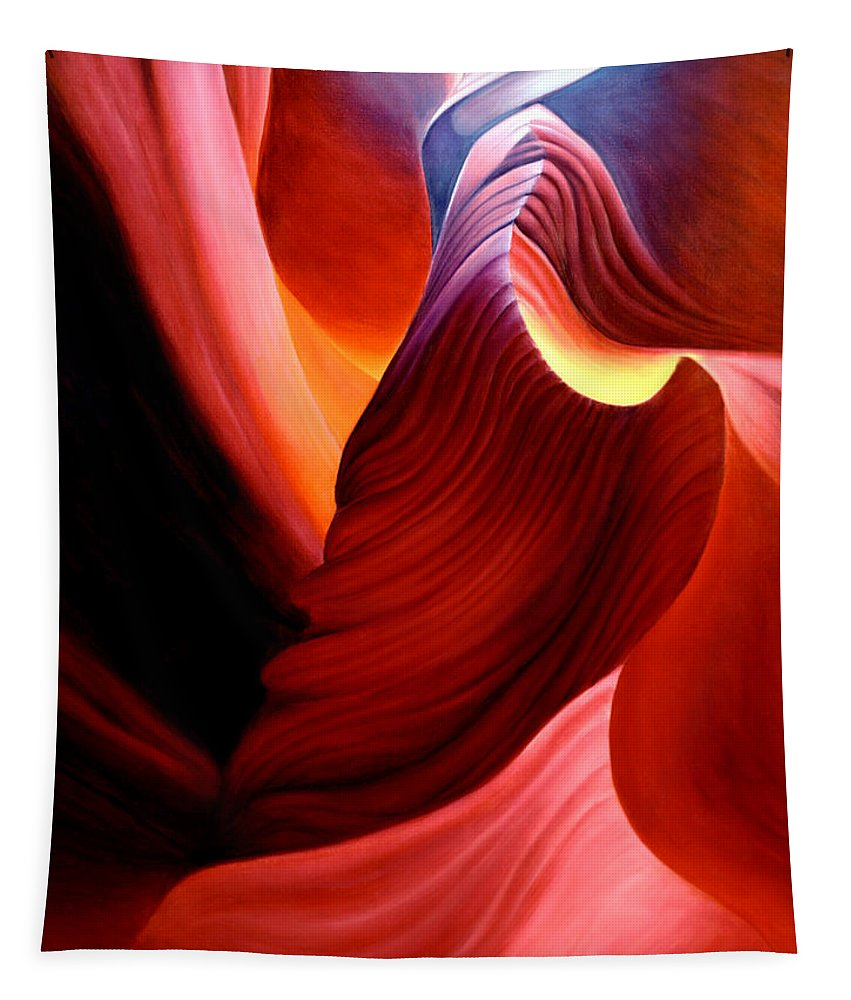 Antelope Canyon Tapestry featuring the painting Antelope Magic by Anni Adkins