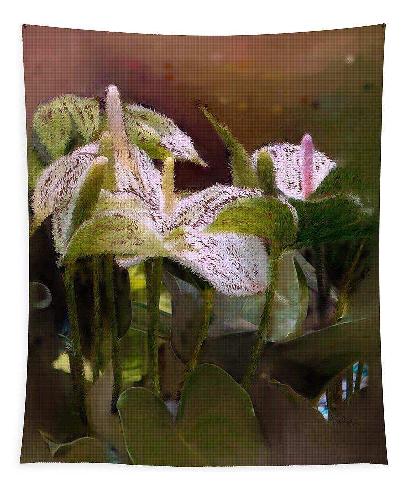 Anthurium Tapestry featuring the digital art Anthutium by Usha Shantharam
