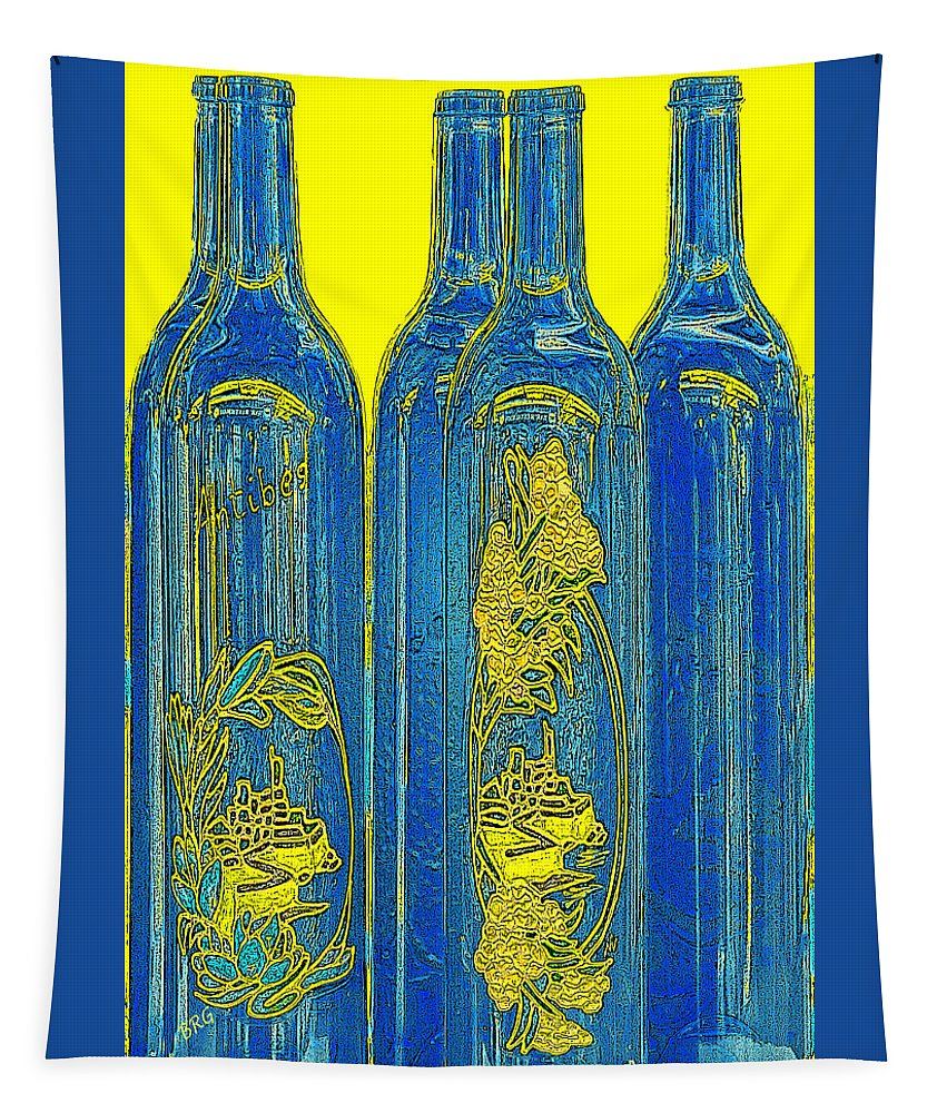 Bottle Tapestry featuring the photograph Antibes Blue Bottles by Ben and Raisa Gertsberg