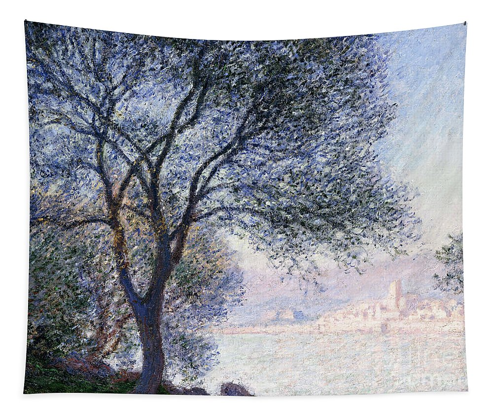 Monet Tapestry featuring the painting Antibes Seen From The Salis by Claude Monet
