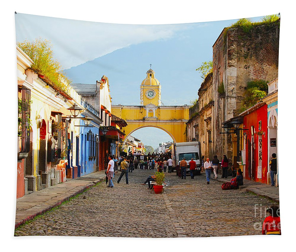Guatemala Tapestry featuring the photograph Antigua Guatemala Clock by Carey Chen