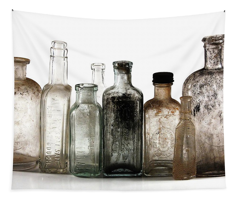 Bottles Tapestry featuring the digital art Antique Bottles by Richard Ortolano