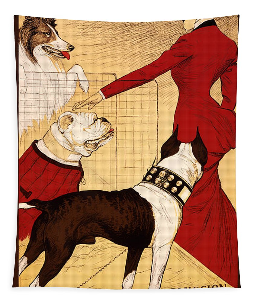 Poster Tapestry featuring the drawing Antique Chicago Dog Show Poster by Mountain Dreams