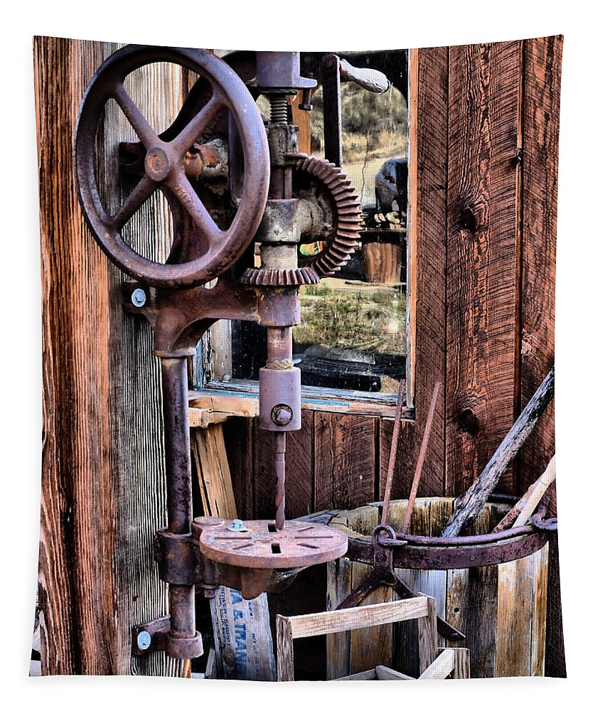Hdr Tapestry featuring the photograph Antique Drill Press by Mountain Dreams