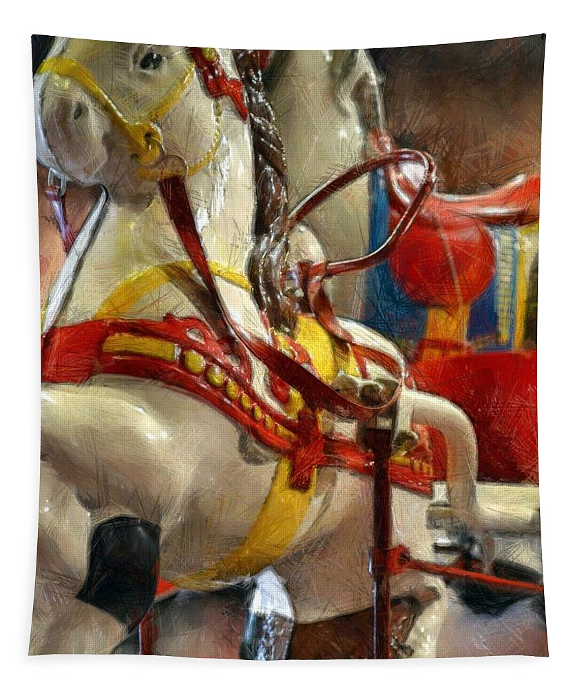 Horse Tapestry featuring the photograph Antique Horse Cart by Michelle Calkins