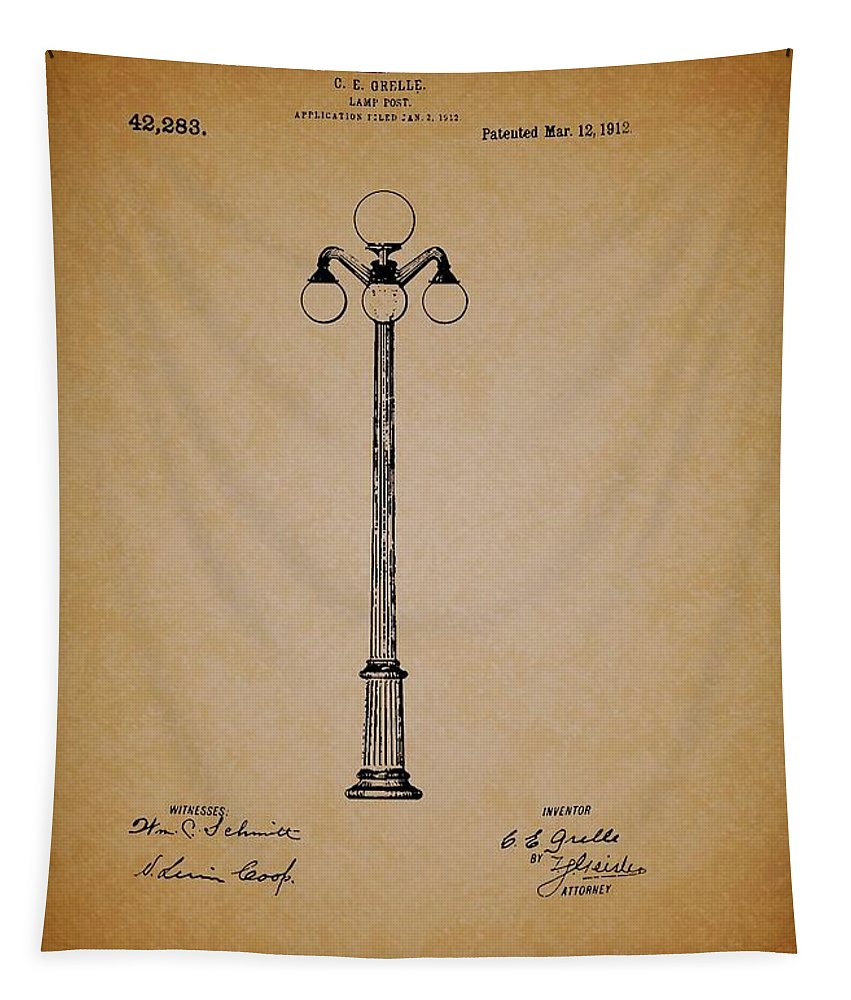 Patent Tapestry featuring the drawing Antique Lamp Post Patent by Mountain Dreams
