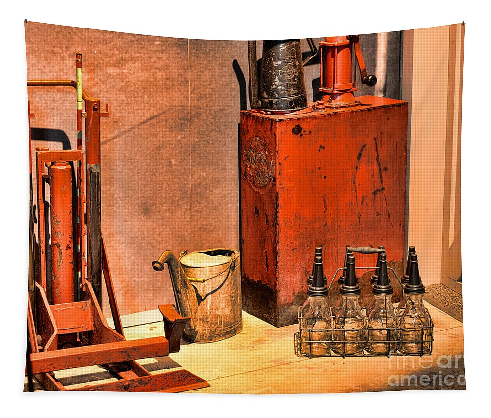 Paul Ward Tapestry featuring the photograph Antique Oil Bottles by Paul Ward