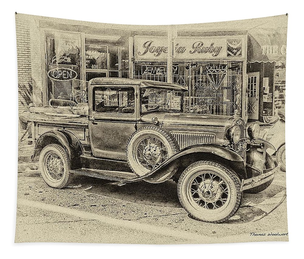 Antique Tapestry featuring the photograph Antique Pickup Truck by Thomas Woolworth
