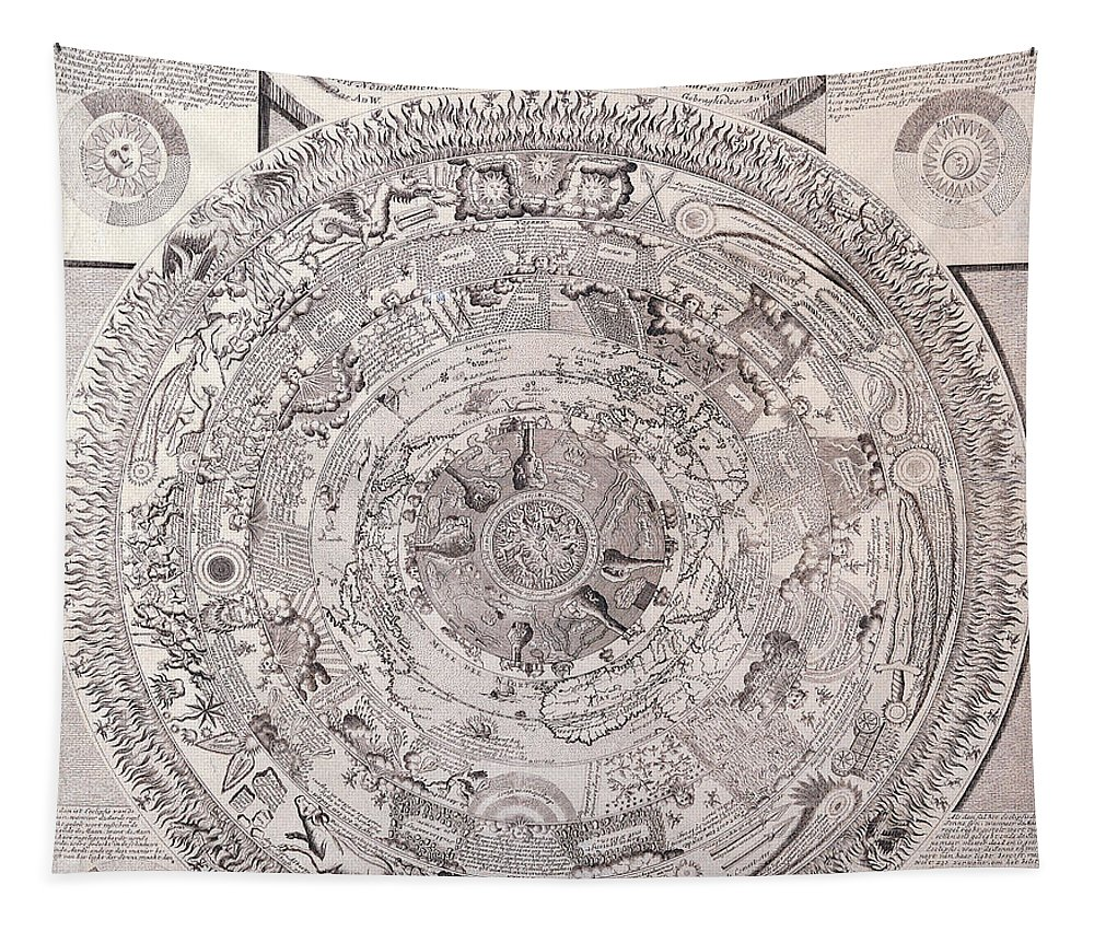 Antique Tapestry featuring the digital art Antique Vintage Map With Elements Beautiful by R Muirhead Art