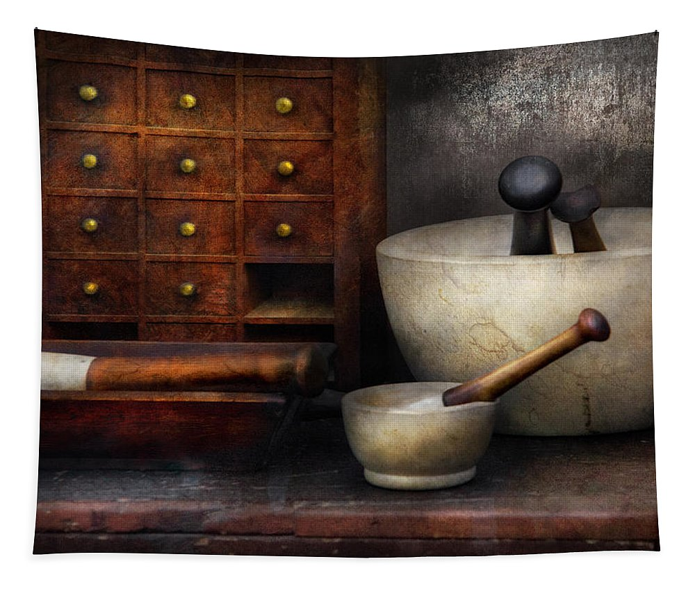 Suburbanscenes Tapestry featuring the photograph Apothecary - Pestle And Drawers by Mike Savad