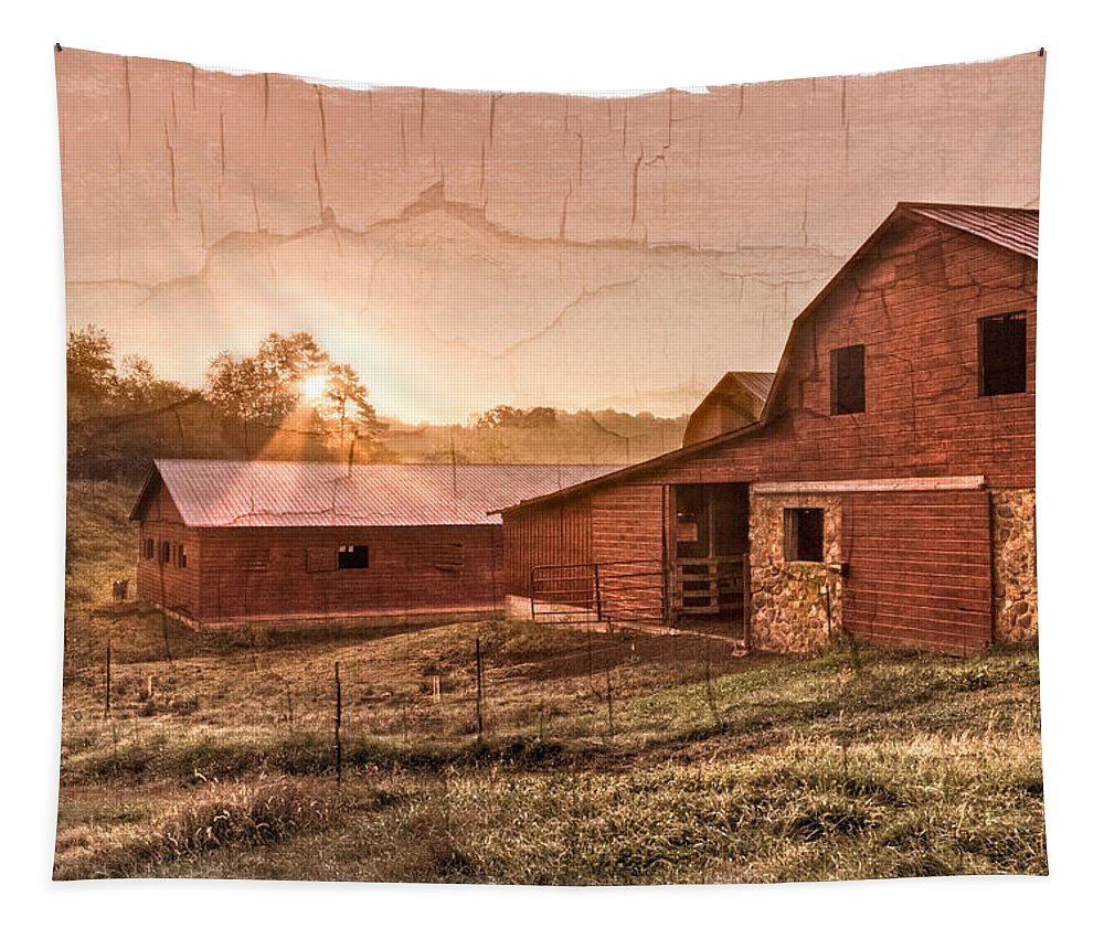 Appalachia Tapestry featuring the photograph Appalachian Barns by Debra and Dave Vanderlaan