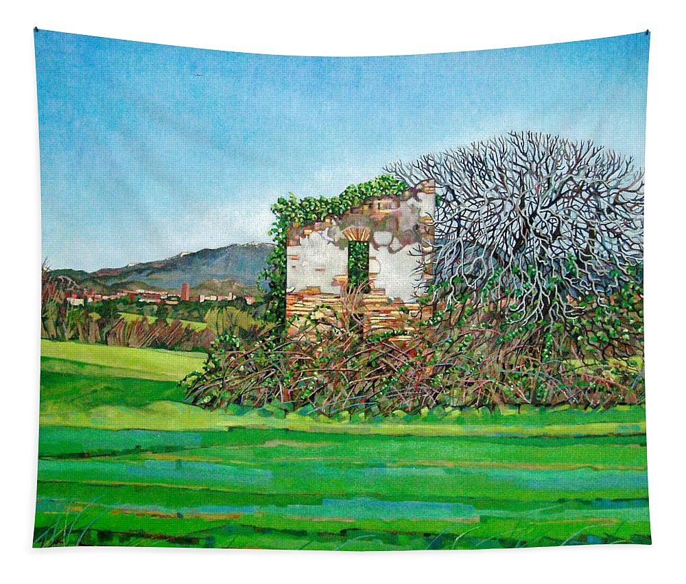 Italy Tapestry featuring the painting Appia Antica, House, 2008 by Noel Paine