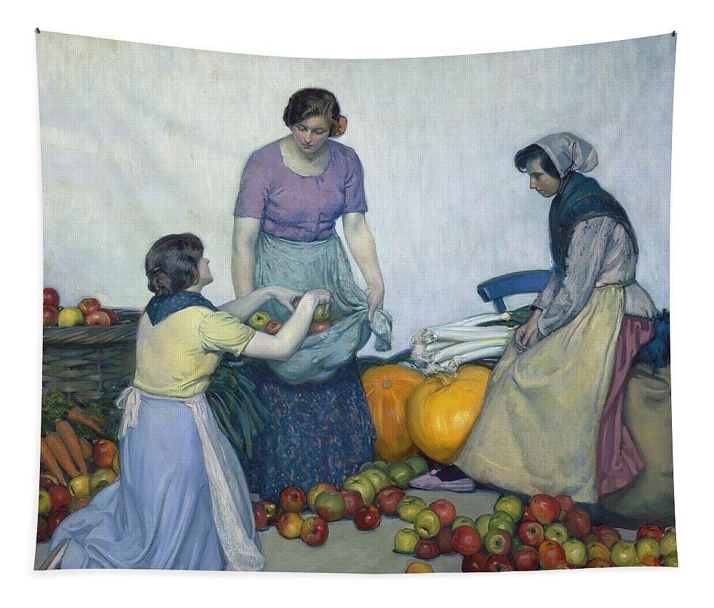Apples Tapestry featuring the painting Apples by Myron G Barlow