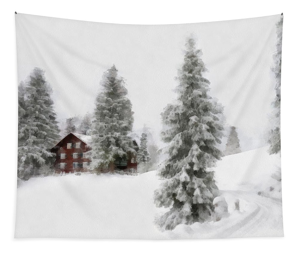 Aquarell Tapestry featuring the digital art Aquarell - Beautiful Winter Landscape With Trees And House by Matthias Hauser