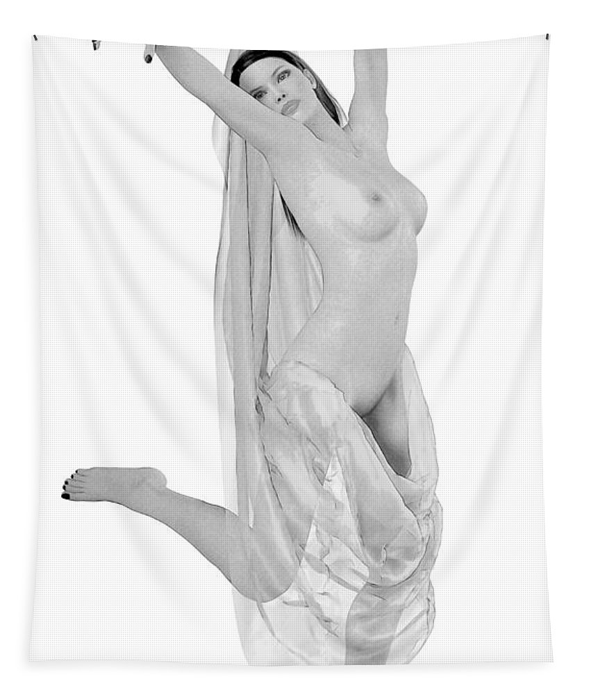 Female Nude Tapestry featuring the digital art Nude Odalisque by Quim Abella