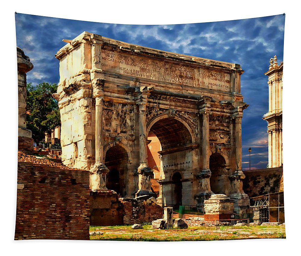 Ancient Tapestry featuring the photograph Arch Of Septimius Severus by Anthony Dezenzio