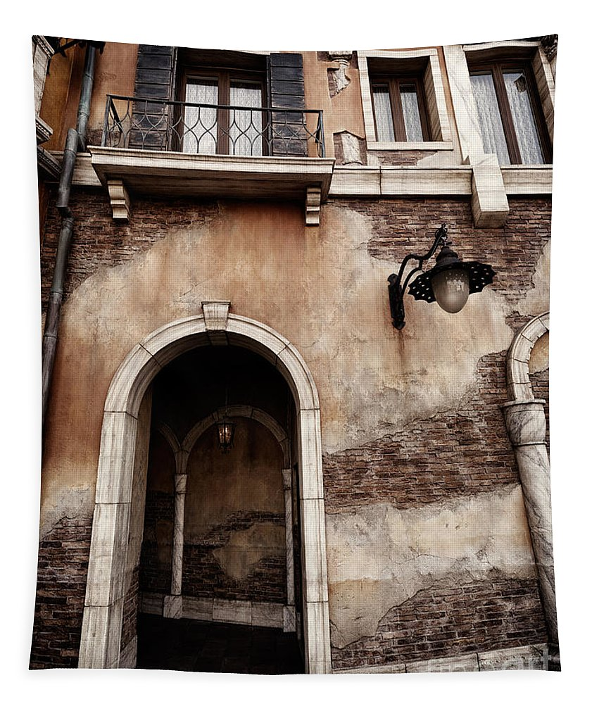 Archway Tapestry featuring the photograph Arched Passage In Old Rustic Venetian House by Oleksiy Maksymenko