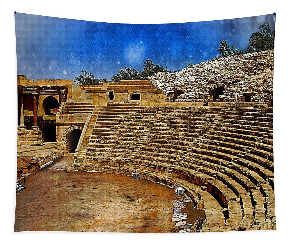 Landscape Tapestry featuring the photograph Arena by Ben Yassa